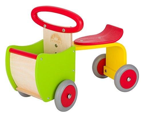 *BIKESTAR® Original Kinder Rutscher Rutschfahrzeug mit Gummibereifung und Spielzeug Ladefläche für kleine Zwerge ab 18 Monate ★ Natur Holz Edition ★ Kanarien Kunterbunt*