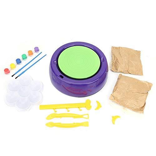 Ruote di ceramica, Ruota per ceramica elettrica per bambini DIY Arte e artigianato Ruote per ceramica in ceramica Macchina per tornio in terracotta con kit di attrezzi da lavoro DIY