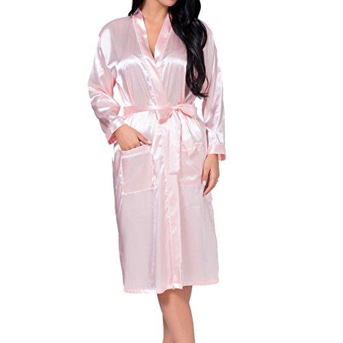 Hibote Damen Seide Rayon Robe Sexy Lange Dessous Nachtwäsche Kimono Nachthemd Plus Size Nachthemd Rosa 3XL (Robe Lila König)
