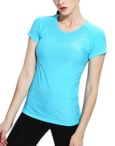 Brinny femme shirt de yoga exercice séchage rapide de fitness chemise à manches courtes T-shirt Bleu