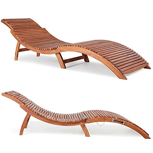 Panana Wooden Sun Lounger Garden Reclining Chair Solid Foldable Acacia Wood Ergonomic Deck Chair Furniture Outdoor Patio
