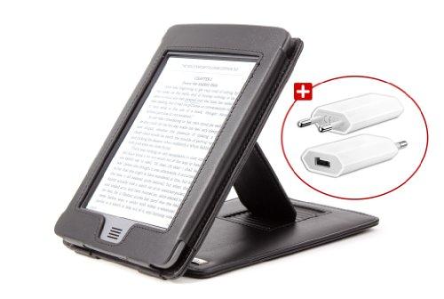 'DURAGADGET Schutzhülle und Abdeckung Schwarz aus echtem Leder mit Standfunktion für das neue Amazon Kindle Touch, Touch 3G, Wi-Fi, 6E Ink-Monitor (Ultima Generation, April 2012) + Ladegeräte Netzstrom (funktioniert nicht mit dem Amazon Kindle)