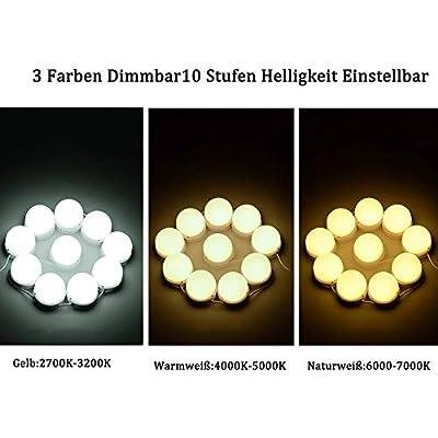 FHzytg 10 LED Spiegelleuchte für Schminkspiegel, Hollywood Stil 3 Farben Dimmbar Make Up Licht, 10 Level Helligkeit Einstellbar Schminkleuchte mit Stecker, Verstellbare Länge Spiegellampe für Spiegel