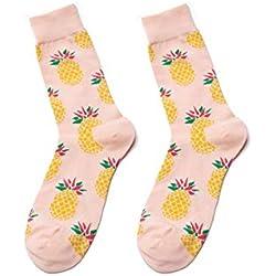 zhaoaiqin Calcetines Largos de Flores de Tubo de algodón para Hombre y Mujer Piña Cherry Banana Monopatín de limón Calcetines de Color Europeo y Americano, Talla única, Naranja Claro