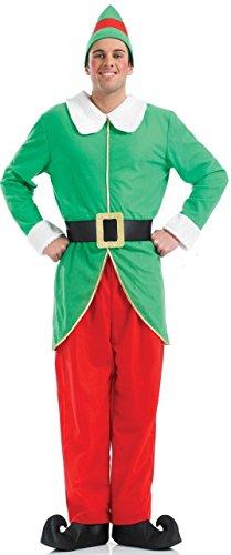 Herren Weihnachtselfe Santa's Helfer Party Kostüm Outfit M, L & XL - Grün, X-Large