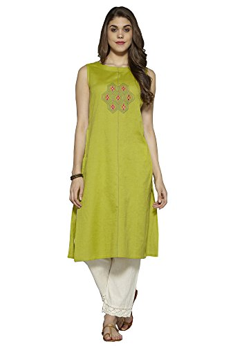 Aahwan Green Solid Cotton Embroidered Long Straight Kurti for Women (AC-Hexa-Green-XL)