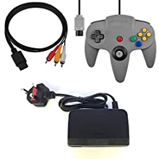 3rd Party Replacement Nintendo 64 Accessory Bundle, Power/AV & Grey N64 Controller
