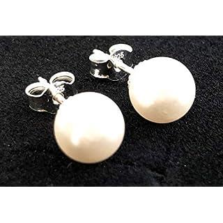 BF&Co. Ohrringe Silber, mit weißer Swarovski Perle 8 mm Durchmesser, aus 925 Silber, Der Ohrstecker Klassiker, Made in Germany (Silber)