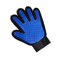 amropi Pet Grooming Glove Dog Hair Remover Gentle Deshedding Brush Massage Gloves(Blue,Left Hand)