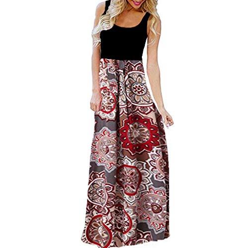 kleider Frauen Sommer Kurzarm Rundhals Drucken Kleider Sommerkleid Maxikleid Casual Lang Streetwear Cocktailkleid Abendkleid ()