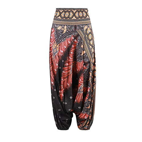 JICHUIO 3D Print India Belly Dance Pants Wide Leg Loose Casual Women Yoga Trousers (Leg Wide Dance Pants)