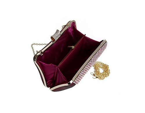 GSHGA Frauen Strass Taschen Brautjungfer Paket Braut Kleid Handtasche Ring Paket Hochzeit Beutel Handtasche Paket,Gold Redwine