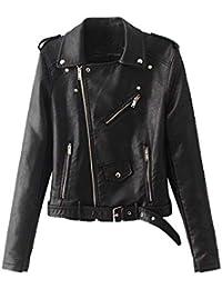 Damen Lederjacke Übergangsjacke Lederimitat Jacke Bikerjacke Mit Gürtel Und  Reißverschluss d37920760c