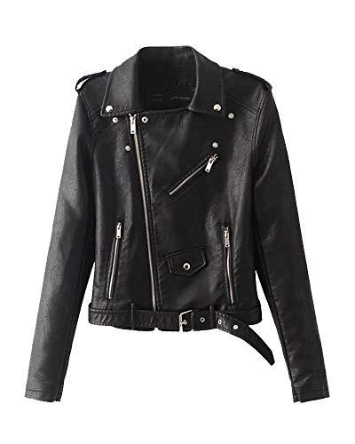 Giubbotto di similpelle chiodo donna giacca da motociclista pu pelle cappotto zip sottile nero s