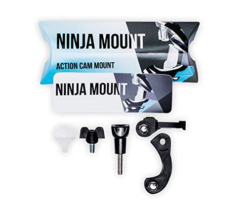 NINJA MOUNT soporte camara de acción para casco fullface, compatible con GoPro, Garmin & Rollei | sujeción especial para cascos Downhill/ATV/Motocross, fabricado en Alemania, color negro