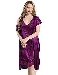 AV2 Women Satin Short Nighty with Lace & Robe 1381