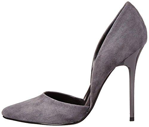 uBeauty Damen Stilettos Slip On Seite Hohl Pumps High Heels Geschlossene Große Größe Schuhe Grau