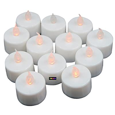 TRIXES 12 X Flickering LED Tea Lights Battery Candles Decoration Accessories by TRIXES