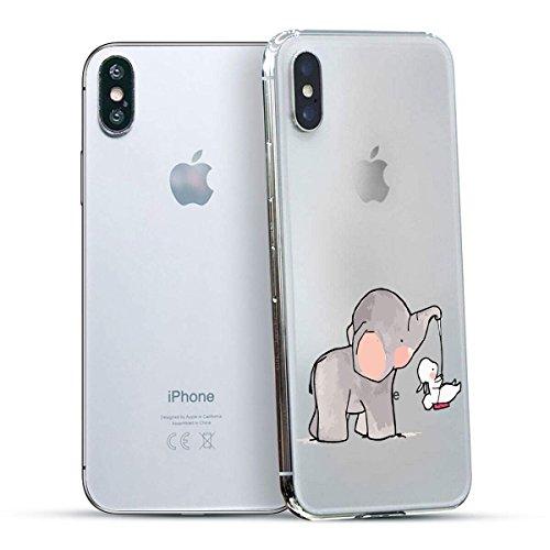 finoo | Iphone X Hard Case Handy-Hülle mit Motiv | dünne stoßfeste Schutz-Cover Tasche in Premium Qualität | Premium Case für Dein Smartphone| Elefant Line Art Elefanten Schaukel Hase