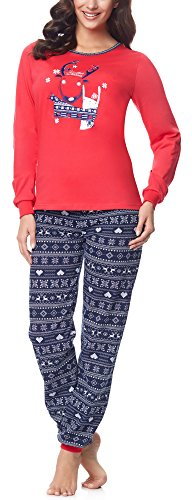 Merry style pigiama donna 867 v2 (rosso/blu marino, l)