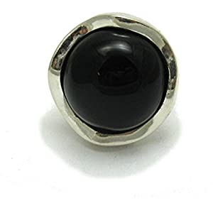 Sterling silber ring mit 20mm schwarzer Onyx 925 Empress Einstellbare Größe