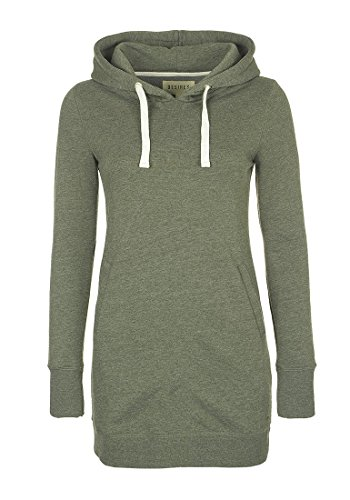 DESIRES Derby Hood Long Damen Kapuzenpullover Hoodie Long Sweatshirt mit Fleece-Innenseite Longline Sweat-Kleid aus hochwertiger Baumwollmischung, Größe:XL, Farbe:Climb Ivy (8785)
