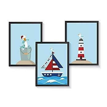 Bilder maritim Kinderzimmer Poster maritim – A4 Kinderposter Deko Set – ohne Bilderrahmen