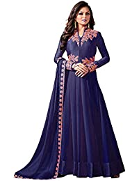 AnK Women's Blue Embroidered Georgette Semi Stitched Anarkali Suit With Dupatta