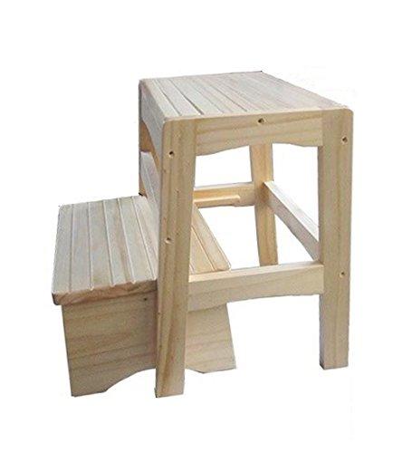 YJLGRYF Klapptritt 2 Stufenleiter-Hocker Faltbarer Massivholz-Stufenhocker-Climb High Bathroom Rutschfeste Leiter, 40 cm hoch, Holzfarbe