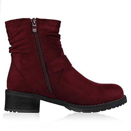 napoli-fashion Damen Stiefeletten Stiefel Biker Boots Nieten Warm Gefüttert Schuhe Jennika Dunkelrot