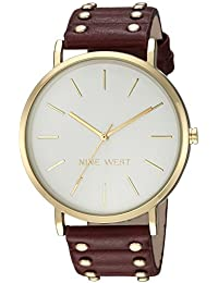 Nine West Women's NW/2056SVBY Gold-Tone and Burgundy Strap Watch