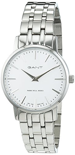 Gant Park Hill 32 Men's Quartz Watch with White Dial Analogue Display and Silver Stainless Steel Bracelet W11403