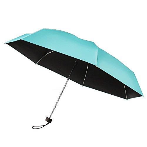 Plemo Mini Regenschirm, Kompakter Taschenschirm Kinderschirm mit UV-Schutz, Gefaltet nur 17,5 cm wie ein iPhone 6 Plus, Blau