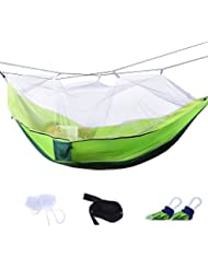 Eplze Portátil Mosquitero Hamaca al Aire Libre Hamaca de Doble Tela de Paracaídas para Interior al Aire Libre Camping Caminata Backpacking Patio interior (Verde)