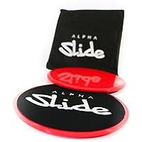 Discos de entrenamiento Alpha Slide Core Sliders, con bolsa de transporte, para todos los suelos, para reforzar la musculatura del tronco, musculatura del torso, entrenamiento, gimnasio, en casa, tronco, deslizamiento, discos de deslizamiento (rojo y negro)