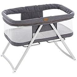 textil-home EASYCOSY - Mini Cuna Viaje bebé Plegable solo 5 kilos de peso. Color Gris - convertible en Balancín.