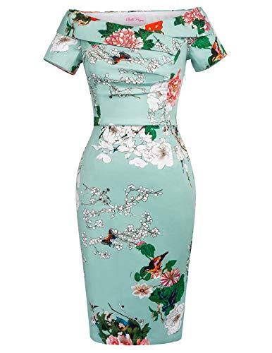 Belle Poque Vintage Femme Florale Robe Pin Up Imprimé des Fleurs DEBP117-2 M