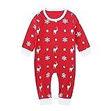 Natale Neonato Tuta Unisex Lettera DOT Stampa Jumpsuit Pigiama Abbigliamento (Rosso, 6 Mesi)