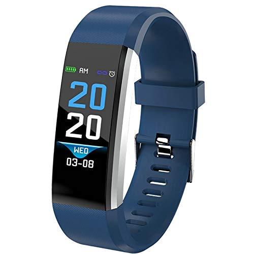 Macxy - Smart-Band-Uhr-Männer Herzfrequenz-Blutdruck-Pedometer Sport Armband Smart-Fitness-Uhr-Mann-Frauen für iOS Android [blau] -