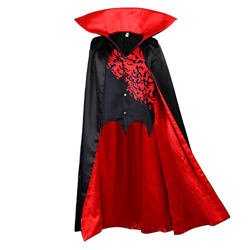 Kostüm Dracula Cape Weste & - papapanda Vampir Umhang mit Weste Kinder Stehkragen Schwarz Rot Dracula Halloween Cape Kostüm Karneval Fasching Verkleidung Kleid (140)
