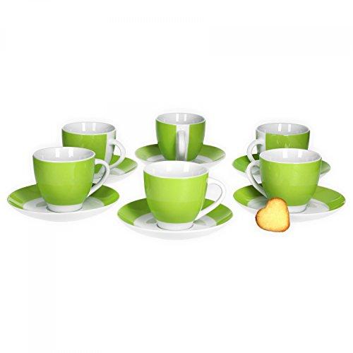 Van Well 6er Set Kaffeetasse mit Untertasse Serie Vario Porzellan - Farbe wählbar, Farbe:grün