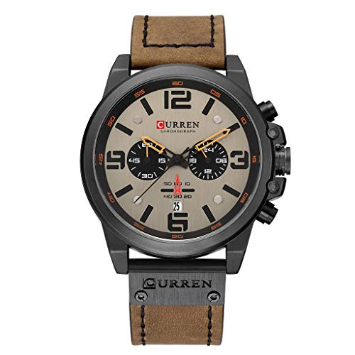 friendGG_Armbanduhren Herren Business Gürtel Uhr wasserdicht Kalender lässig Quarz Zifferblatt Mode Runde einzigartiges Design Uhren Luxus Uhren einfach und stilvoll luxuriöse Mode Trend zart