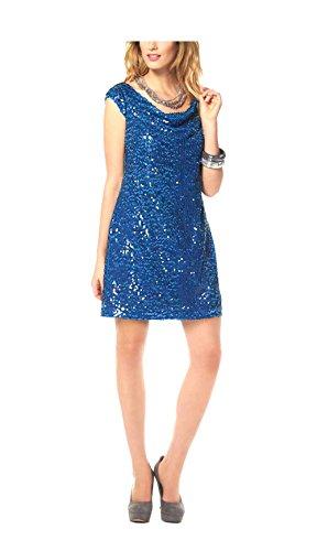 Marc New York Damen Kleid Pailletten Kleid Cocktail Kleid mit Wasserfallausschnitt blau (36)