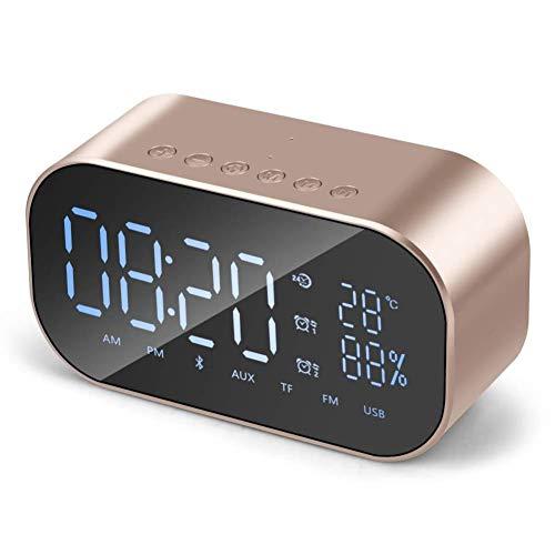 Digitaler Wecker Mini-Bluetooth-Lautsprecher, Digitaluhren Nachttisch mit Dual-USB-Ladeanschluss, Stereo-Lautsprecher (3W), FM, Bluetooth, AUX-TF-Karte, Snooze, Thermometer (Color : Gold) - Dual-radio-website