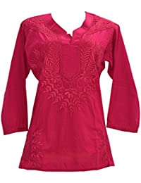 INDIAN HANDICRAFT STANDARDS Chikankaari Dark Pink Kashmiri Needle-craft 100% Soft Cotton Short Kurti With Free...