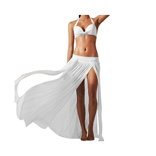 Yanhoo Gonne,Vestito,Abito Donna,Donna Gonna Alta Vita Matita Bodycon Breve Mini Gonna, Gonna da Spiaggia Lunga Maxi Gonna Ampia in Chiffon con Spacco Femminile (Taglia Unica, Bianco)