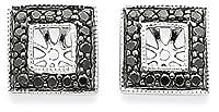 IceCarats 14K White Gold Black Diamond Square Jacket Earrings