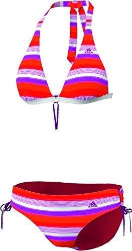 adidas Damen Bikini Stripes HN, top:vivid pink s13/vivid red s13/blaze orange s13 bottom :vivid pink s13/vivid red s13/blaze orange s13, 34, Z29849 - Band Hipster Bikini Bottoms