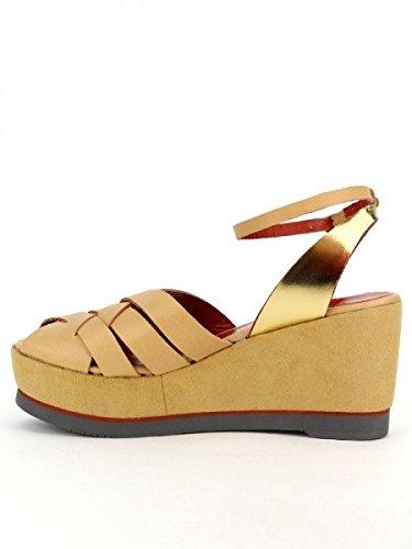 Cendriyon, Compensées Caramel VEAU Cuir CANNIS LO.E Créateur Chaussures Femme Caramel