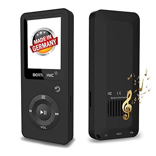BERTRONIC Made in Germany BC02 Royal MP3-Player 16 GB ★ Bis 100 Stunden Wiedergabe ★ Radio | Portabler Player mit Lautsprecher | Audio-Player für Sport mit Micro SD-Karte & Silikonhülle (Mp3-player 16gb Schwarz)